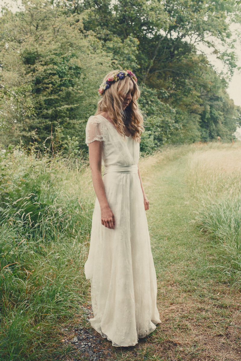 A Boho Bride Wearing Charlie Brear Dress And Veil For Her Woodland Festival Wedding At