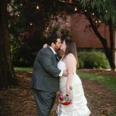 plus size bride in courtyard wedding