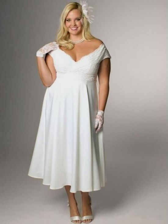 Top10 beautiful short plus size wedding dresses 09