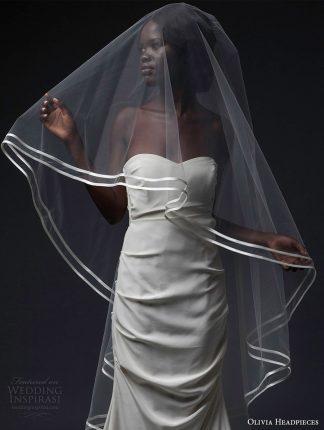 olivia headpieces fall 2016 veils double satin trim sweep veil (candem) mv