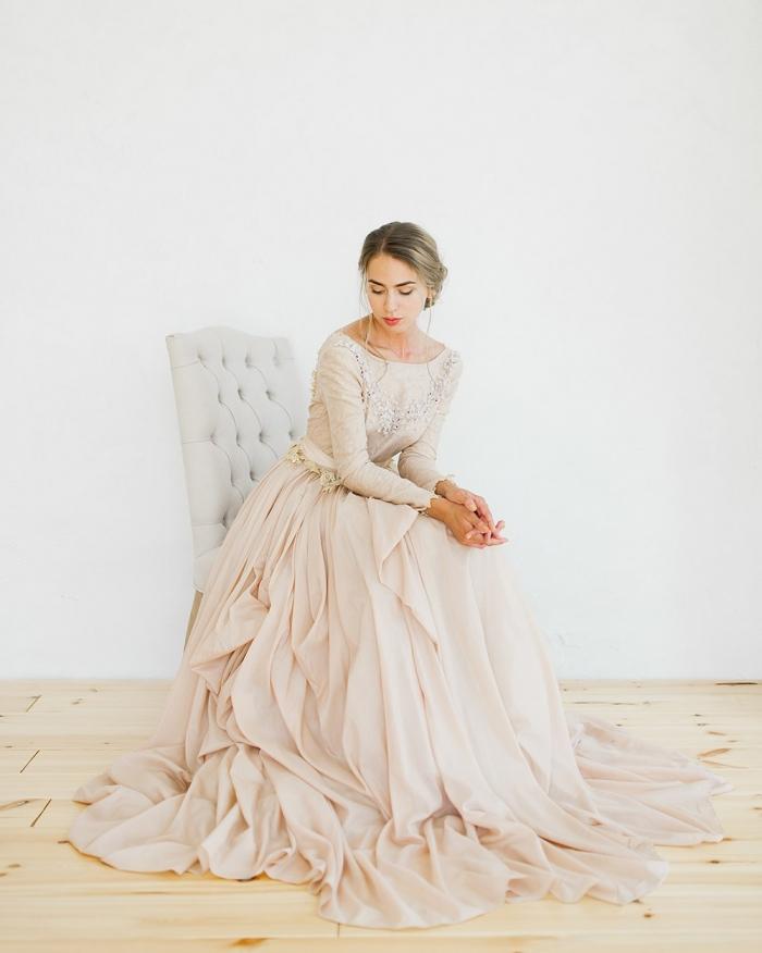rose winter wedding dress