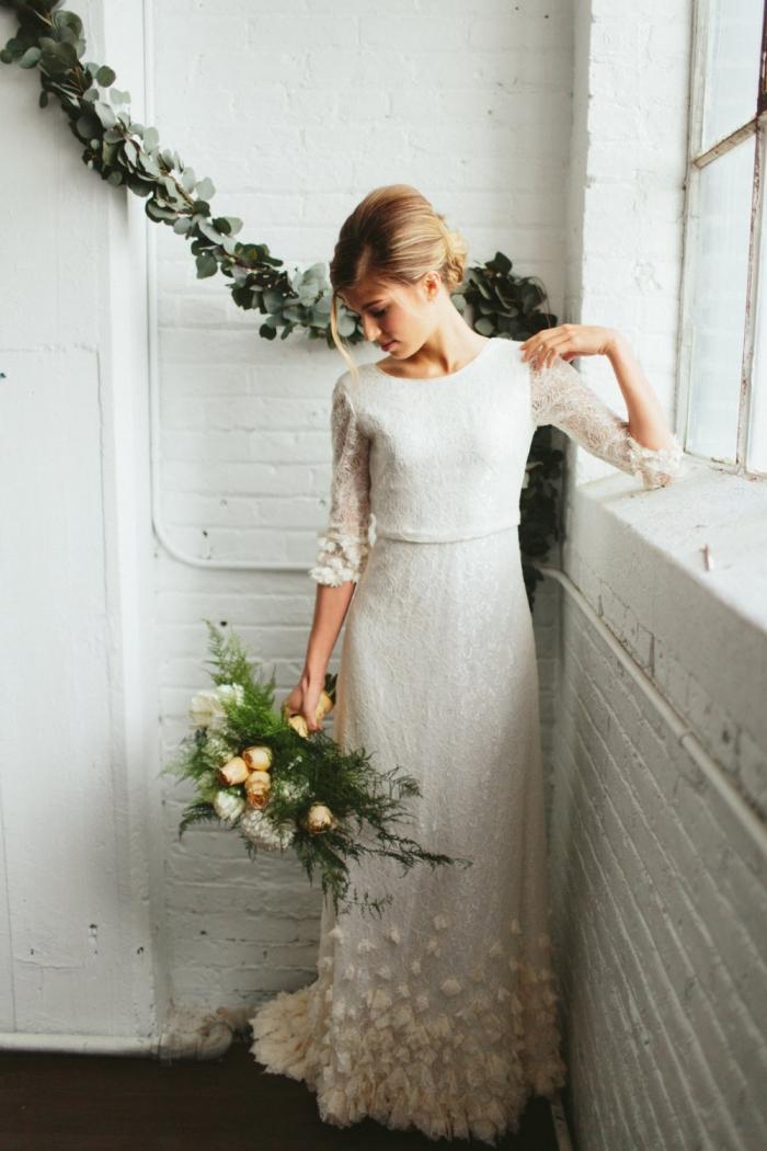 two piece witner wedding dress