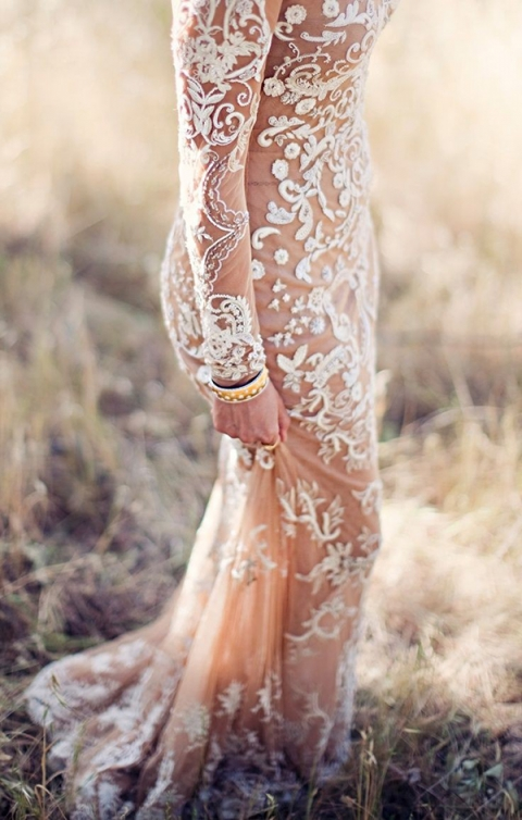 Sheer Wedding Dress with Long Lace Sleeves