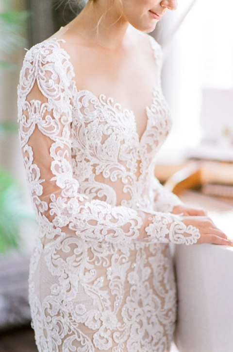 Beaded Sheer Lace Wedding Dress with Long Sleeves