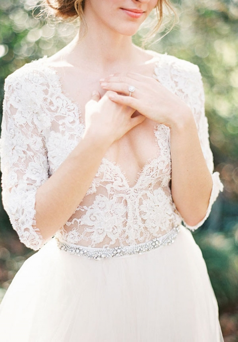 Lace and Tulle Wedding Dress with a Jewel Belt