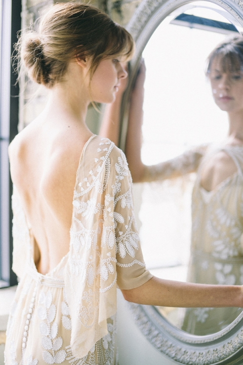 Open Back Embroidered Wedding Dress