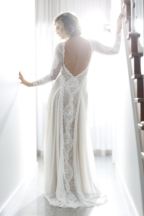 Bohemian Glam Lace Wedding Dress with an Open Back