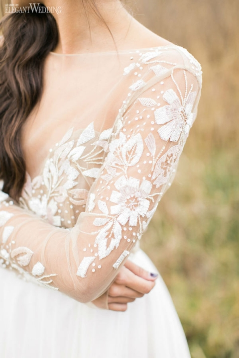 Long Sleeve Wedding Dress with Crystal Flowers