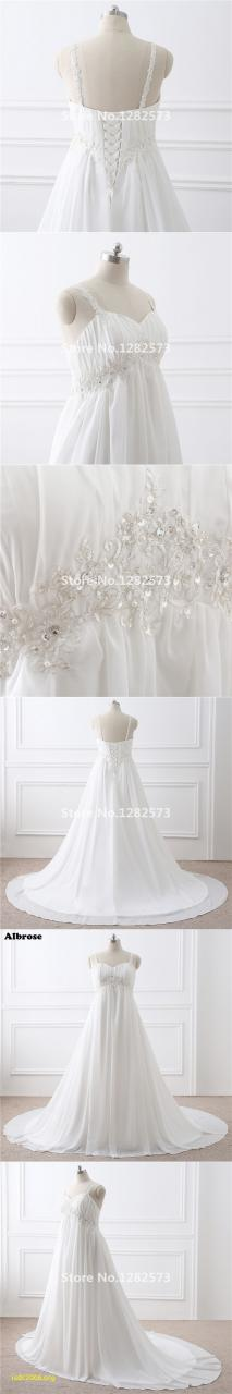 In Stock Maternity Wedding Dress Lace Up Plus Size Wedding Dresses Long Chic Bridal Gown Chic