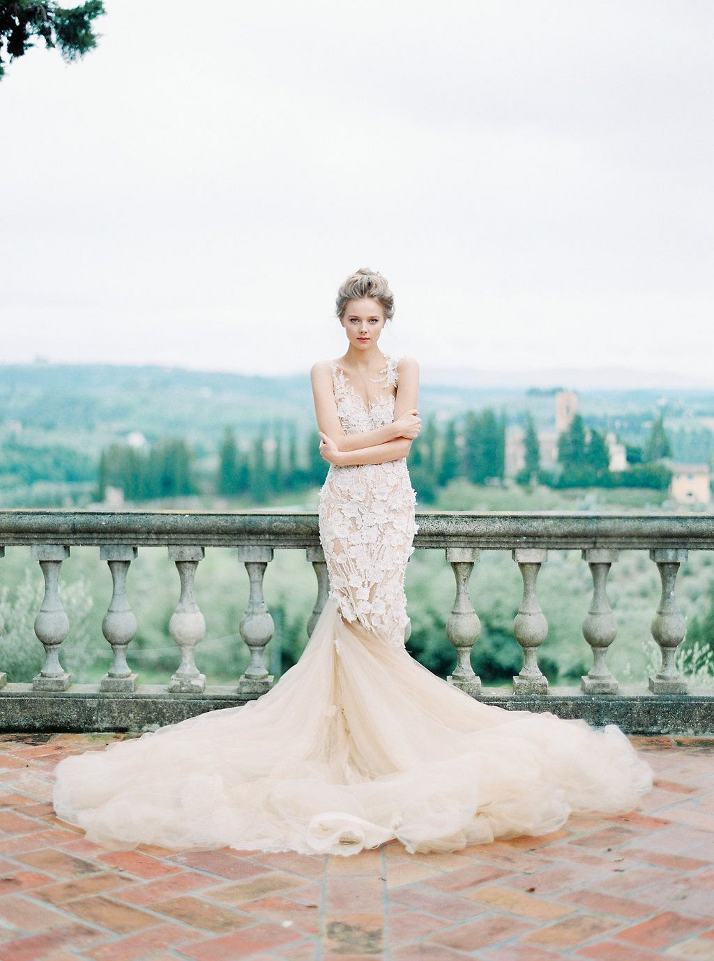 Italian Vogue Editorial in an incredible Nude, Lace Gown