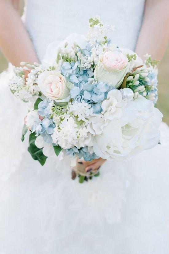 Elegant blue wedding bouquets 07