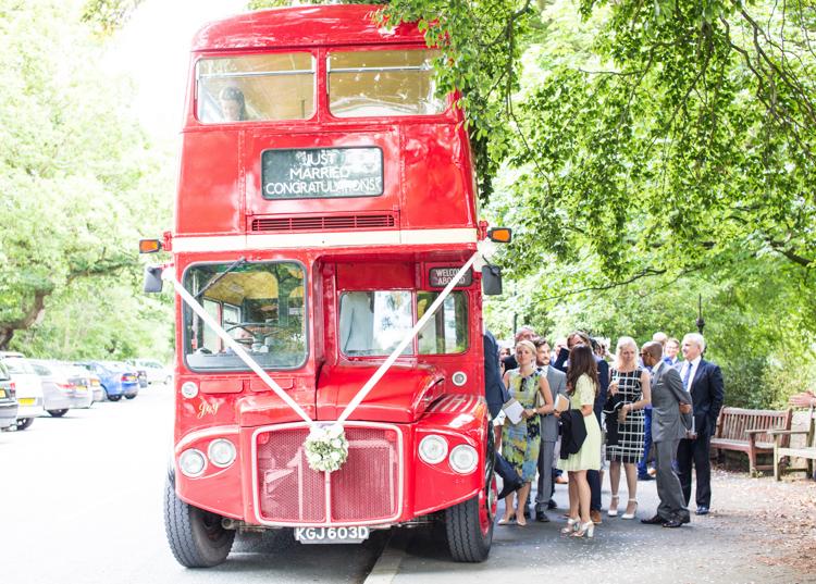 London Red Bus Transport Soft Pink Rustic Boho Wedding http://www.natashacadman.com/