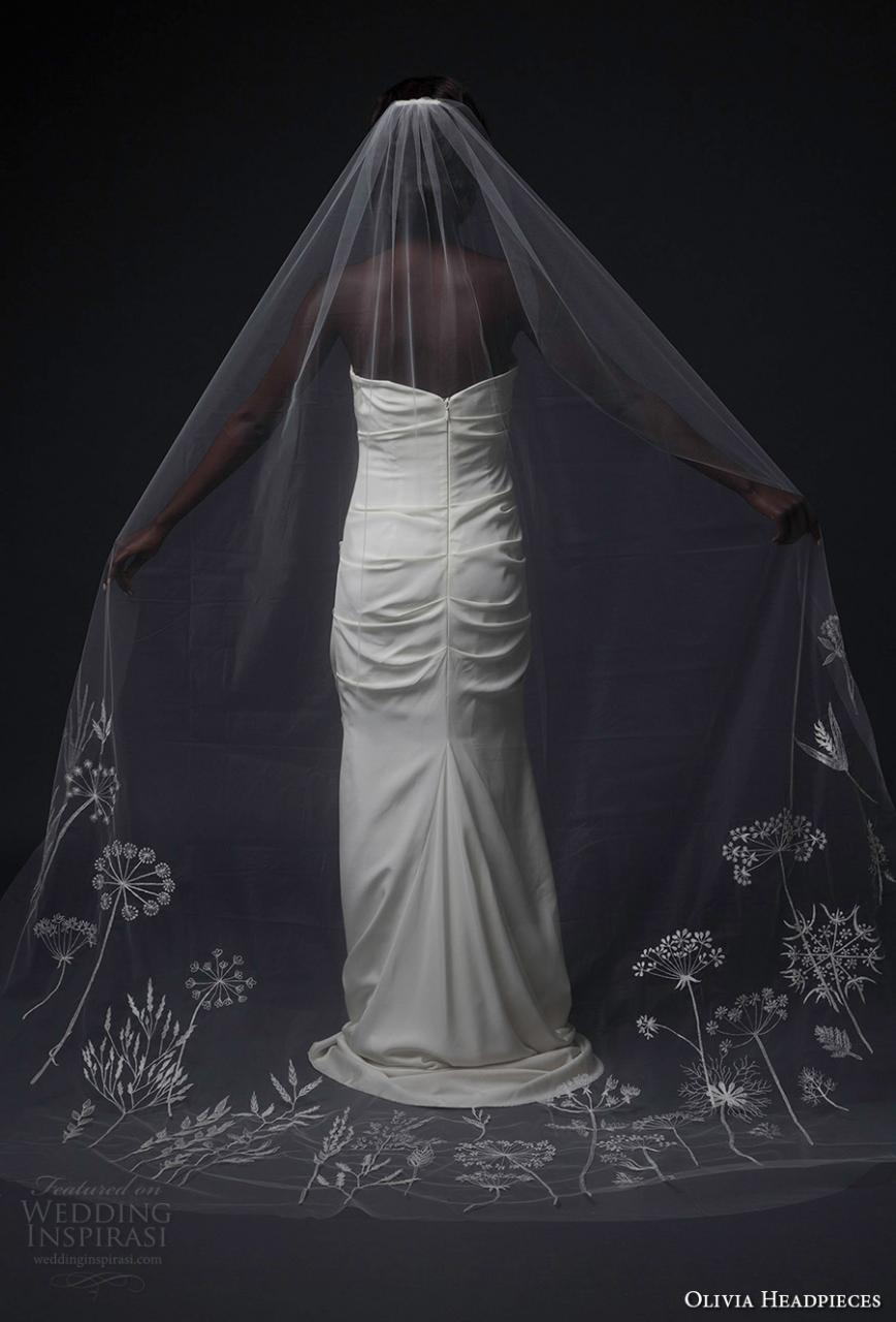 olivia headpieces fall 2016 veils embroidered hem chapel veil (wildflowers dreams) mv