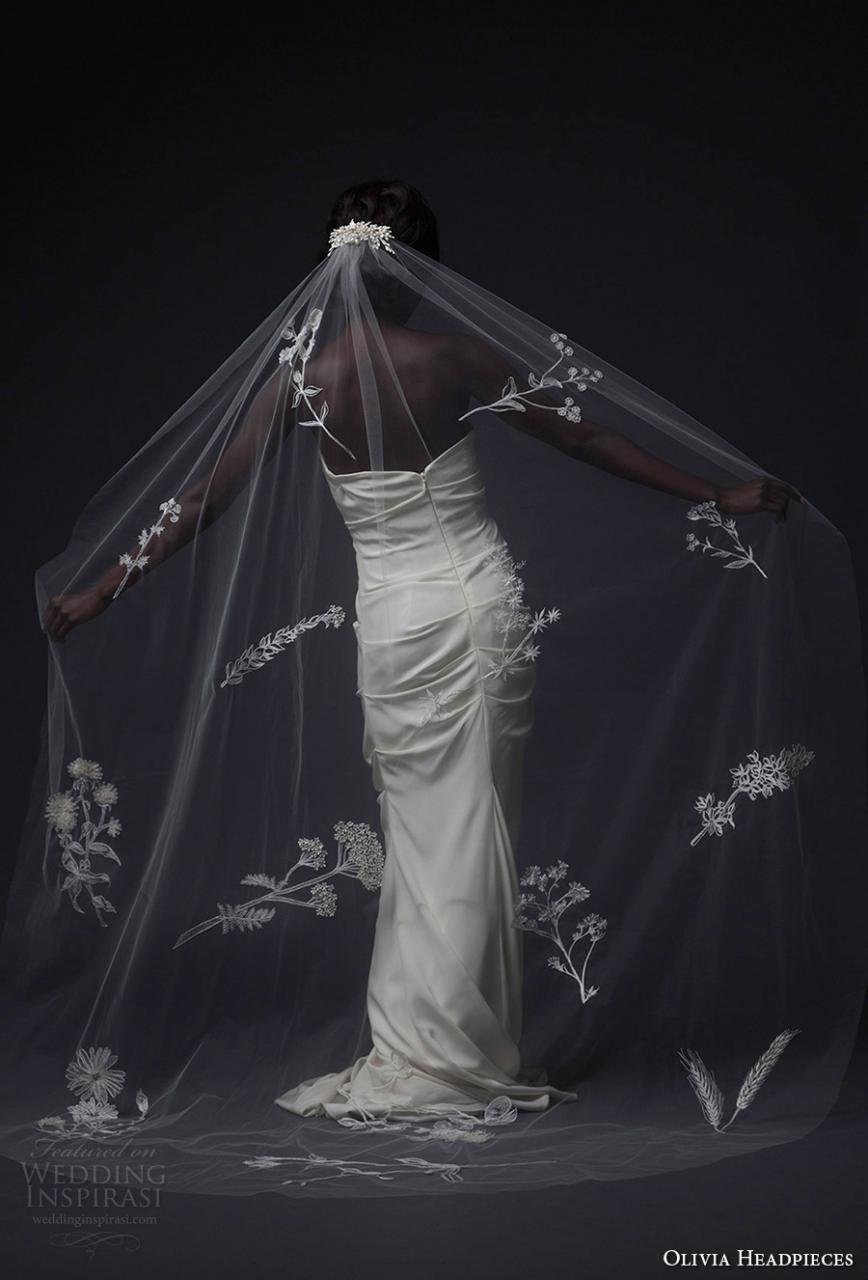 olivia headpieces fall 2016 veils floral full embroidered chapel veil (botanical) mv