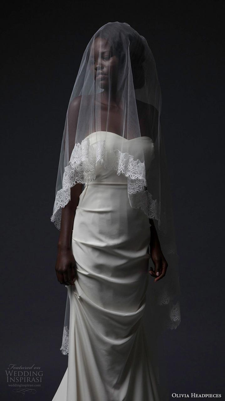 olivia headpieces fall 2016 veils multi layered lace embroidered hem sweep veil (bethanel) mv