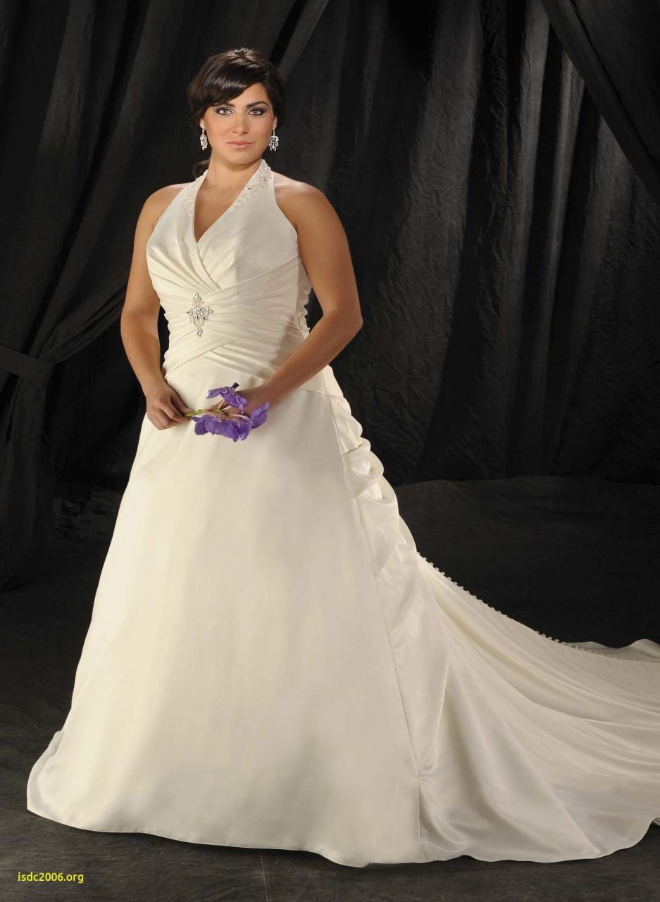 Halter Ruched Satin Court Train Wedding Dress · Plus Size